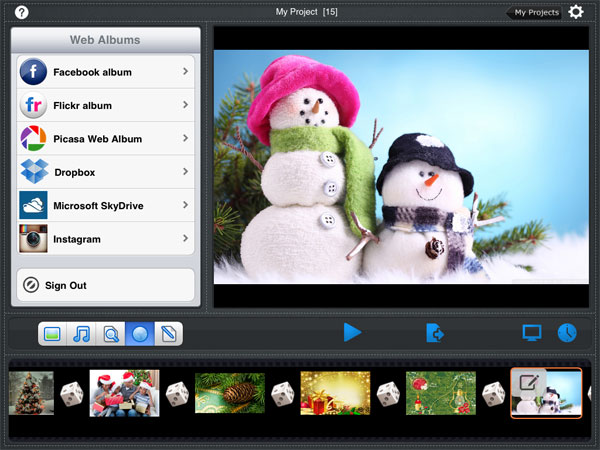 create slideshow with picasa, facebook,flick photos